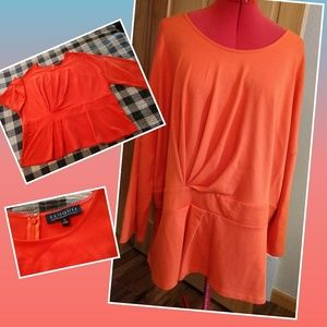 Eloquii orange knit top 26W pleat front